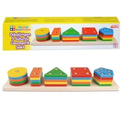Hamaha Oyuncak - Eğitici Ahşap Renkli Dikdörtgen 5'Li Sütun Geometrik Şekiller