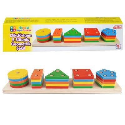 Eğitici Ahşap Renkli Dikdörtgen 5'Li Sütun Geometrik Şekiller