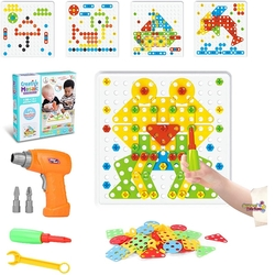 Başel Toys - Eğitici Oyuncak Creative Mosaic Pilli Matkaplı Puzzle 3D 138 Parça Set