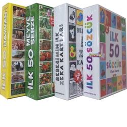 Dıy Toy - Eğitim Seti 4'lü İlk 50 Sözcük, Meyveler, Hayvanlar ve Bebeğimin Zeka Kartları