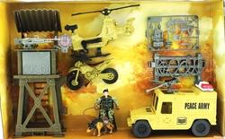 MEGA - Gözcü Kulesi Helikopter ve Motorlu Askeri Set