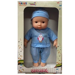 Halley Oyuncak Bebek Müzikli Tulumlu Neşe Bebek 30 Cm - Thumbnail