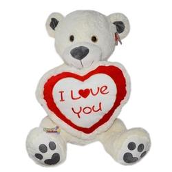 Halley Oyuncak - Halley Oyuncak Elinde Kalp Tutan Peluş Ayı 100 Cm I Love You Yazılı
