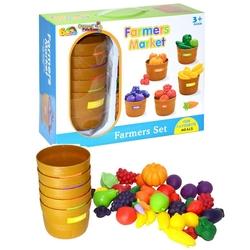 Bircan Oyuncak - Hawking Oyuncak Sebze-Meyve Seti Kovalı Çiftçi Marketi