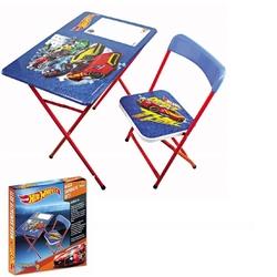 Furkan Toys - Hot Wheels Çocuk Ders Çalışma Masa Sandalye Seti Yazı Tahtalı