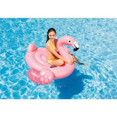 İntex 57558 Pembe Şişme Flamingo Binici-Tutmaçlı Ada 142x137x97 cm