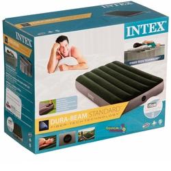 İntex - Intex 64761 Tek Şişme Yatak (Kendinden Ayak Pompalı) 99x191x25 cm Yeşil Gri