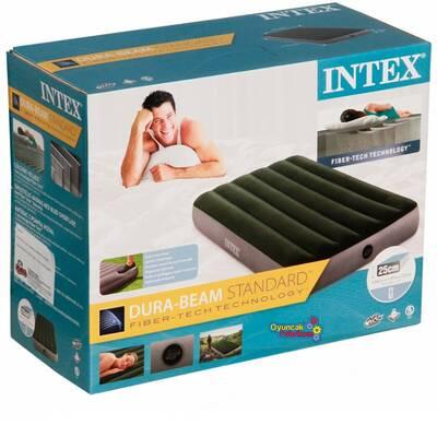 Intex 64761 Tek Şişme Yatak (Kendinden Ayak Pompalı) 99x191x25 cm Yeşil Gri