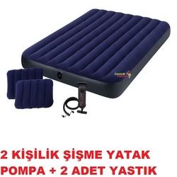 İntex 64765 Classic Çift Kişilik Şişme Yatak Seti Pompa ve Yastık 152x203x25 cm - Thumbnail