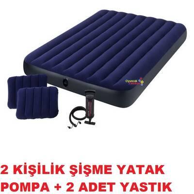 İntex 64765 Classic Çift Kişilik Şişme Yatak Seti Pompa ve Yastık 152x203x25 cm