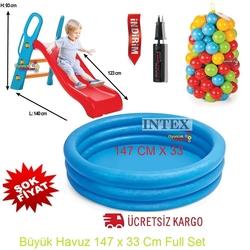 İntex - intex Büyük Kaydırak ve İntex Şişme Büyük Mavi Havuz+100 Adet Top+Pompa+Tamir Kiti