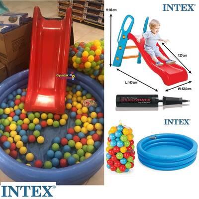 intex Büyük Kaydırak ve İntex Şişme Büyük Mavi Havuz+100 Adet Top+Pompa+Tamir Kiti