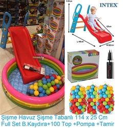 İntex - İntex Büyük Kaydırak ve Şişme İntex 3 Boğumlu Şişme Havuz+100 Adet Top+Pompa+Tamir Kiti