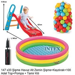 İntex - İntex Büyük Kaydırak ve Şişme İntex Şişme Havuz+100 Adet Top+Pompa+Tamir Kiti