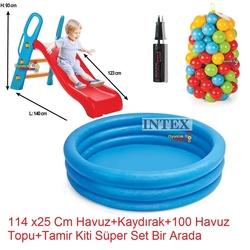İntex - intex Büyük Kaydırak ve Şişme İntex Şişme Mavi Havuz+100 Adet Top+Pompa+Tamir Kiti