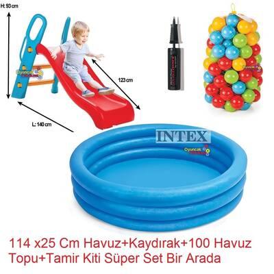 intex Büyük Kaydırak ve Şişme İntex Şişme Mavi Havuz+100 Adet Top+Pompa+Tamir Kiti
