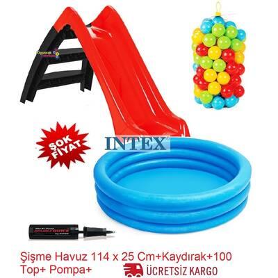 İntex Kaydıraklı Oyun Seti Şişme Mavi Havuz + 100'lü Oyun Havuz Topu+ Pompa Hediyeli