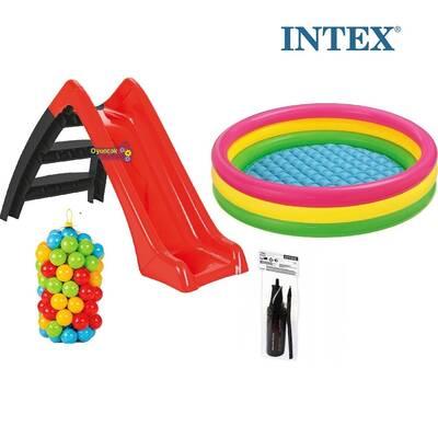 İntex Kaydıraklı Oyun Seti Şişme Sunset Havuz 100 Adet Top+Pompa
