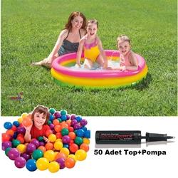 İntex - intex Renkli Şişme Oyun havuzu 50 Top+Pompa Hediyeli 114x25 Cm