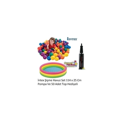 intex Renkli Şişme Oyun havuzu 50 Top+Pompa Hediyeli 114x25 Cm - Thumbnail