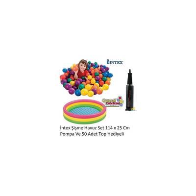 intex Renkli Şişme Oyun havuzu 50 Top+Pompa Hediyeli 114x25 Cm