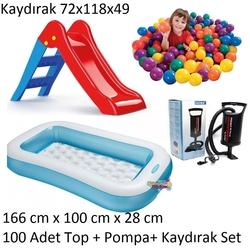 İntex - İntex Şişme Çocuk Havuzu Kaydıraklı +100 Adet Oyun Topu+Pompa