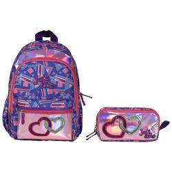HİLAL - Joy's Cool Zinci Kalp İşlemeli Anaokulu Çanta Seti