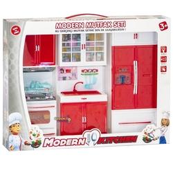 Kayyum Oyuncak - Kayyum Oyuncak Modern Mutfak Seti -Açılır Kapak, Pilli Işıklı ve Sesli 3'Lü Set