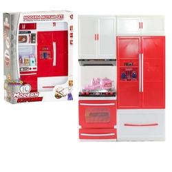 Kayyum Oyuncak - Kayyum Oyuncak Modern Mutfak Seti Sesli Işıklı 2' li Set Fırın-Buzdolabı-Ocak