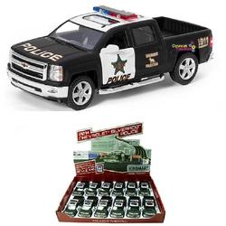 Kinsmart - Kinsmart 2014 Chevrolet Sılverado Police 1:46 Metal Çek Bırak Araba Mat Siyah