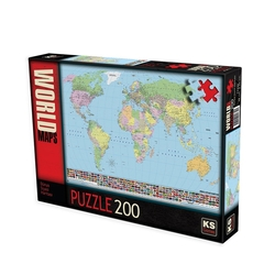 Ks Games - KS, Dünya Siyasi Haritası, 200 Parça Puzzle