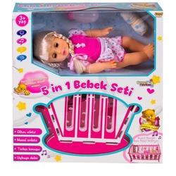 Furkan Toys - Masal Anlatan Türkçe Konuşan Altını Islatan Beşikli Oyuncak Bebek 5 in 1