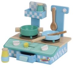 Mentari - Mentari Eğitici Mini Ahşap Oyuncak Mutfak Seti Mavi-Yeşil MT-3497