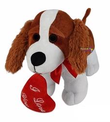 Halley Oyuncak - Miajima Ağzında Kalp Tutan I Love Yazılı Oyuncak Peluş Köpek 45 Cm