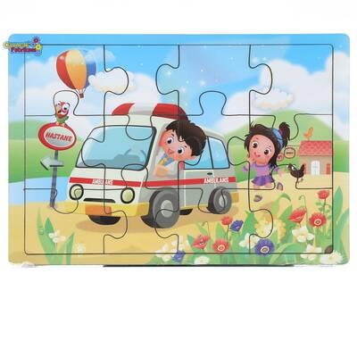 Miajima Eğitici Ahşap Yapboz Puzzle Ambulans Acil Servis Ekibi Frame 12 Parça