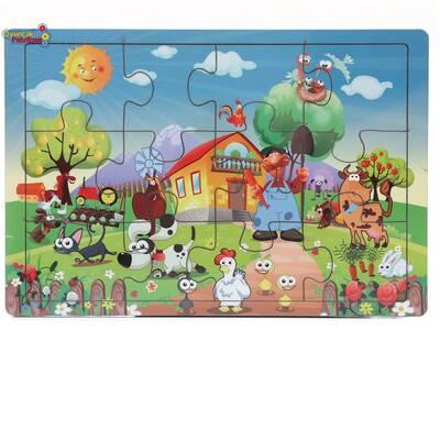 Miajima Eğitici Ahşap Yapboz Puzzle Çiftlik Hayvanları Frame 12 Parça