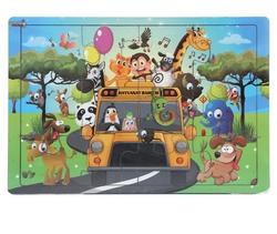 Miajima - Miajima Eğitici Ahşap Yapboz Puzzle Hayvanat Bahçesi Frame 12 Parça