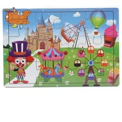 Miajima - Miajima Eğitici Ahşap Yapboz Puzzle Luna Park Eğlencesi Frame 12 Parça