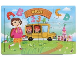 Miajima - Miajima Eğitici Ahşap Yapboz Puzzle Okul Servisi Frame 12 Parça