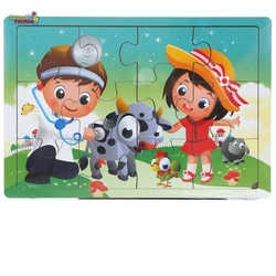 Miajima - Miajima Eğitici Ahşap Yapboz Puzzle Veteriner Frame 12 Parça