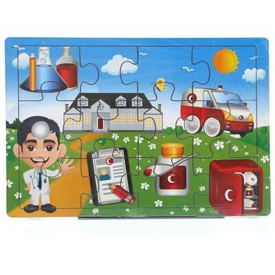 Miajima Hastane Doktoru Eğitici Ahşap Yapboz Puzzle Frame 12 Parça