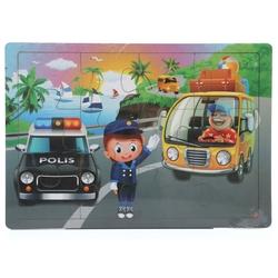 Miajima - Miajima Trafik Polisi Ahşap Eğitici Yapboz Puzzle 12 Parça