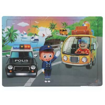Miajima Trafik Polisi Ahşap Eğitici Yapboz Puzzle 12 Parça