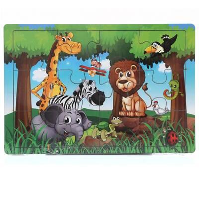 Miajima Vahşi Orman Hayatı Ahşap Eğitici Yapboz Puzzle 12 Parça