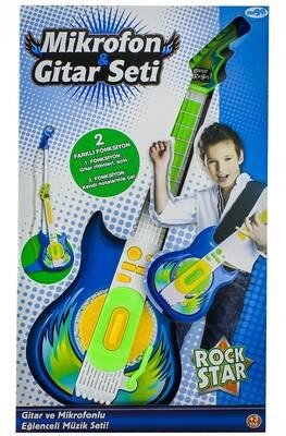 Mikrofonlu Mavi Gitar Seti