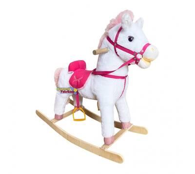 Müzikli Sallanan At Beyaz-Pembe 65 cm