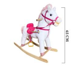 Müzikli Sallanan At Beyaz-Pembe 65 cm - Thumbnail