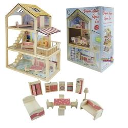 Okutan Hobi - Oyuncak Ahşap Ev Doğal Ağaç 3 Katlı Teraslı Bebek Evi