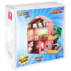 CC Oyuncak - Oyuncak Ahşap Ev Mobilyalı Ağaçlı Çocuk Oyun Evi Aksesuarlı