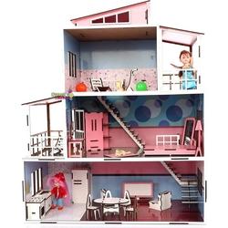CC Oyuncak - Oyuncak Ahşap Mobilyalı Çocuk Oyun Evi Seti 28 Parça Aksesuarlı